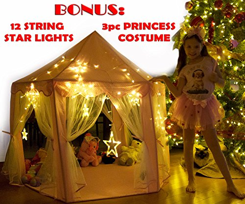 Kids-Tent-for-Kids-Playhouse-with-Lights-12-Star-LED-Strip-lights-3pc-Princess-Dress-Up-Costume-Letter-from-Santa-Children-Castle-Play-Tent-for-Girls-Kids-Gifts-Tent-with-Lights-Pink-Hexagon-Large-0