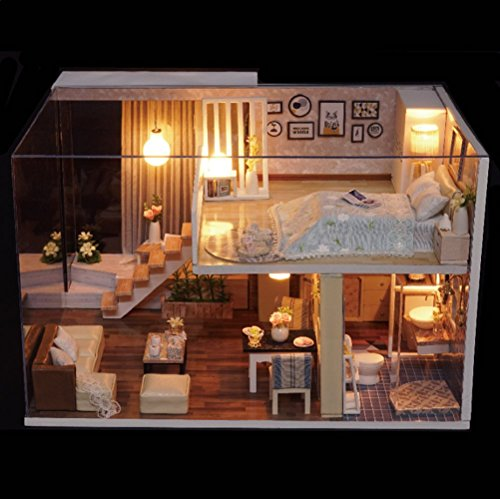 Kisoy Romantic And Cute Dollhouse Miniature Diy House Kit Creative Room Perfect Diy Gift For