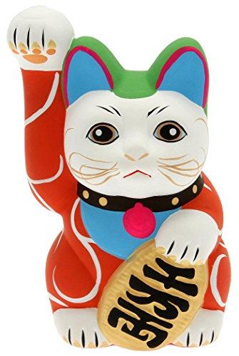 Kotobuki-Maneki-Neko-Lucky-Cat-Coin-Bank-with-Karakusa-Spiral-Vine-Pattern-Red-0