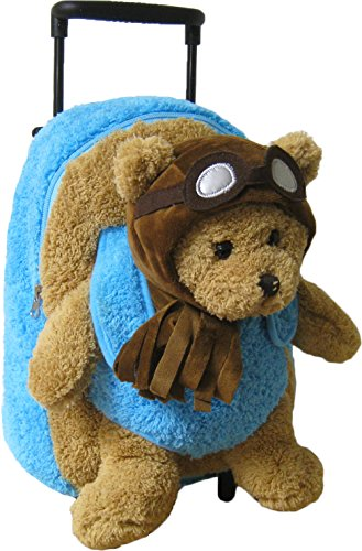 Kreative-Kids-Adorable-Aviator-Pilot-Bear-Rolling-Backpack-w-Removable-Stuffed-Toy-Wheels-0-0