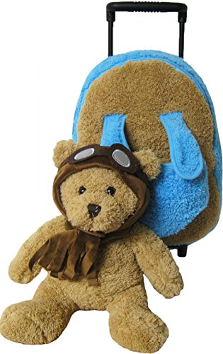Kreative-Kids-Adorable-Aviator-Pilot-Bear-Rolling-Backpack-w-Removable-Stuffed-Toy-Wheels-0-1
