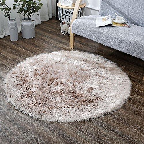 Shaggy Throw Rug: LEEVAN Plush Sheepskin Style Throw Rug Faux Fur Elegant