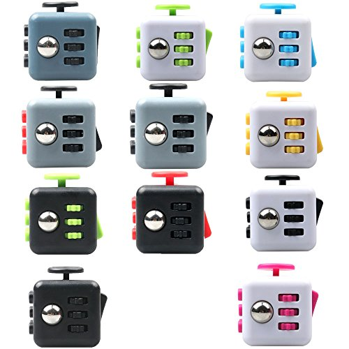 LVHERO 11 Pcs Different Colors Fiddle Blox Fidget Cube Dice Toy With Protective Case A Fun Way To Relieve Stress And Anxiety Or ADHD For Children