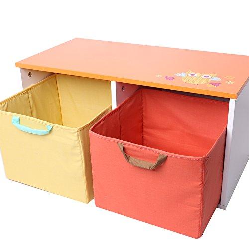 Soft White Kids Toy Chest Wood Box Bin Storage Organizer: Labebe Wooden Children Furniture 2-in-1 Toy Box & Bench