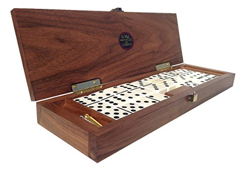 Le-Club-Luxury-Domino-Set-With-Handcrafted-Walnut-Case-and-Cribbage-Counter-Top-Tournament-Quality-28-Indestructible-Double-Six-Dominoes-0