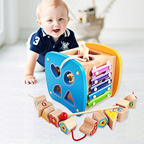 Lewo-Wooden-Shapes-Sorter-Activity-Centers-Lacing-Beads-Early-Development-Toys-for-Toddlers-0-0