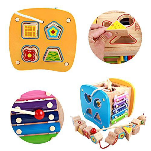 Lewo-Wooden-Shapes-Sorter-Activity-Centers-Lacing-Beads-Early-Development-Toys-for-Toddlers-0-1