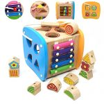 Lewo-Wooden-Shapes-Sorter-Activity-Centers-Lacing-Beads-Early-Development-Toys-for-Toddlers-0