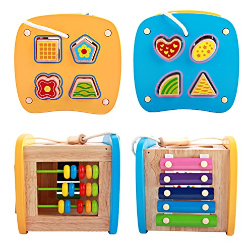Lewo-Wooden-Shapes-Sorter-Activity-Centers-Lacing-Beads-Early-Development-Toys-for-Toddlers-0-2