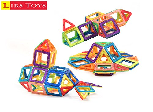 Lirs Toys 72 Pcs Magnetic Blocks Magnetic Tiles