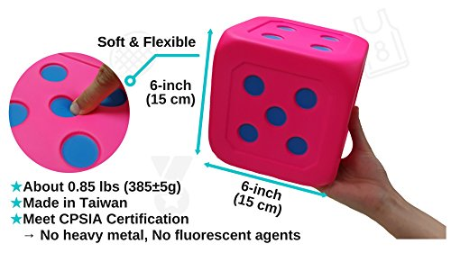 Electric Kids Cars >> Macro Giant 6 Inch Soft Foam Jumbo Big Playing Dice, Set of 4, Round Edge, Toy Brick, Board ...