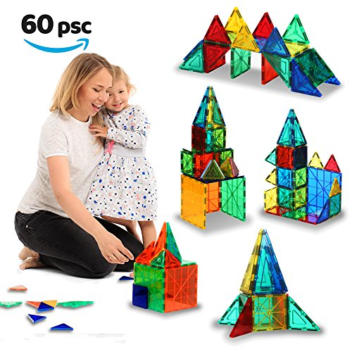Magnetic-Building-Tiles-60-pcs-Large-Blocks-Set-3D-Educational-Toys-for-Boys-and-Girls-Great-for-3-Years-Old-Kids-Tiles-with-Innovative-Build-Magnets-Great-Gift-for-Children-0