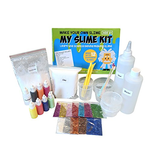 Make-Your-Own-Slime-Slime-Kit-W-Containers-Clay-Slime-Beads-Glue-Glitter-Powders-with-Slime-Recipes-For-Making-Color-Clear-and-Different-Types-of-Slime-How-to-Make-Slime-Instructions-Included-0