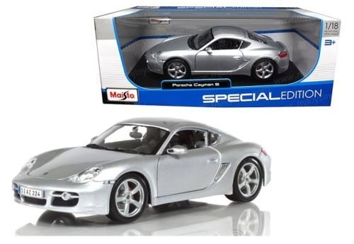 New-118-WB-SPECIAL-EDITION-SILVER-PORSCHE-CAYMAN-S-Diecast-Model-Car-By-Maisto-0