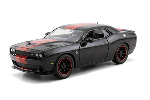 New-124-DISPLAY-BIG-TIME-MUSCLE-RED-BLACK-2015-DODGE-CHALLENGER-SRT-HELLCAT-Diecast-Model-Car-By-Jada-Toys-0