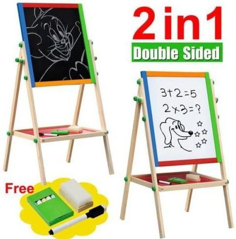 New-Double-Sided-Black-and-White-Wooden-Easel-Drawing-Board-Children-Kids-Chalkboard-Set-with-Dry-Erase-Painting-Artist-Art-Deluxe-Standing-2-in-1-Flip-Over-Reversible-Adjustable-Height-0