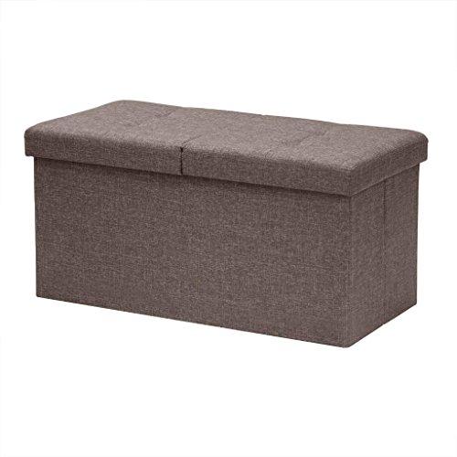 Otto-Ben-30-SMART-LIFT-TOP-Ottoman-Bench-Brown-Folding-Storage-Ottoman-Stool-Linen-Fabric-0-0
