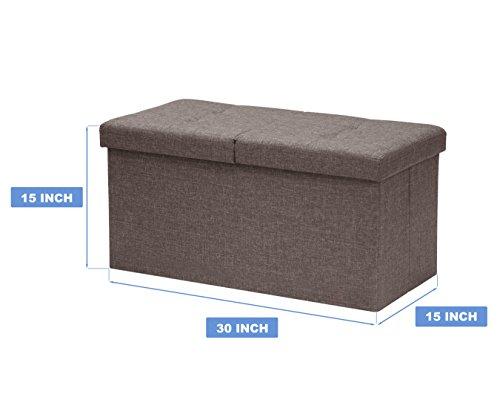 Otto-Ben-30-SMART-LIFT-TOP-Ottoman-Bench-Brown-Folding-Storage-Ottoman-Stool-Linen-Fabric-0-1