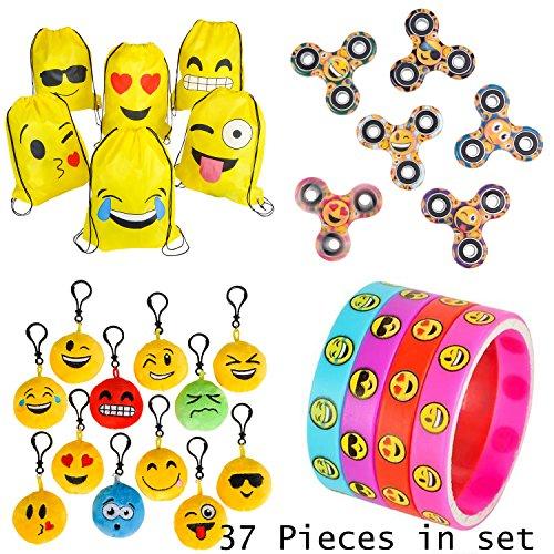 PREMIUM-Emoji-Party-Supplies-Bundle-36-Items-incl-6-Fidget-Hand-Spinners-6-Backpacks-12-Plush-Backpack-Clips-12-Rubber-Bracelets-1-BONUS-Item-0