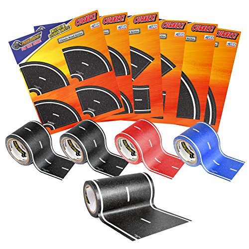 PlayTape-Road-Rally-Road-and-Curve-Assortment-for-5-7-Kids-Road-Car-Tape-Great-for-Kids-Sticker-Roll-for-Cars-and-Train-Sets-Stick-to-Floors-and-Walls-Quick-Cleanup-Children-Toys-Birthday-Gift-0