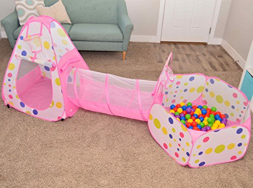 Playz 3pc Kids Play Tent Crawl Tunnel And Ball Pit Pop Up