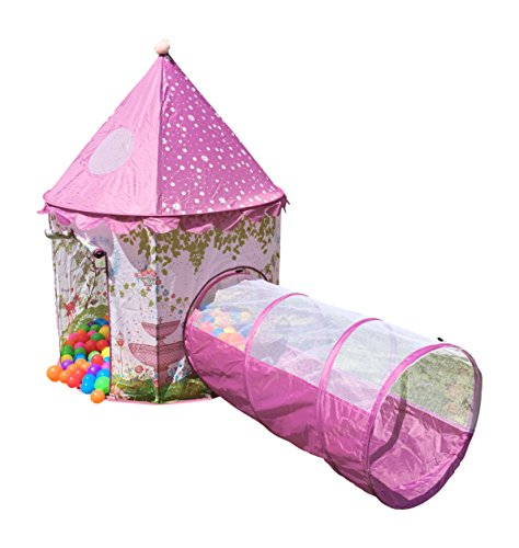 Playz 6 Piece Princess Castle Play Tent With Crawl Tunnel