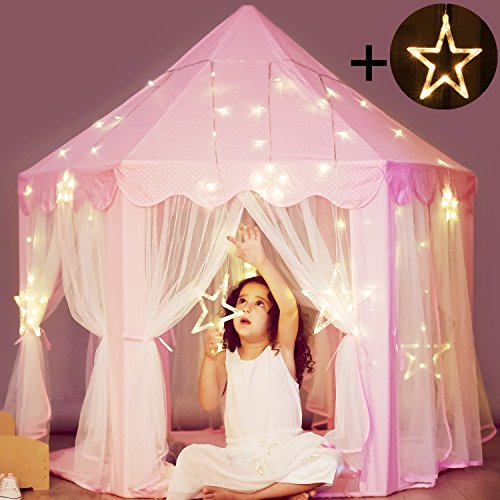 Electric Kids Cars >> Princess Castle Tent with Large Star Lights String ...