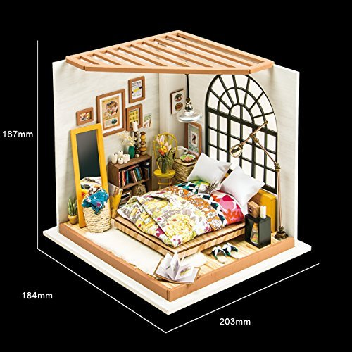 ROBOTIME DIY Dollhouse Kits Miniature with Furniture Wooden Toy for Adult Kids
