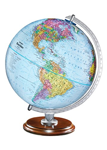 Replogle standard educational desktop world globe for kids and replogle standard educational desktop world globe for kids and teachers antique walnut wood stand over 4000 place names designed for classroom gumiabroncs Image collections