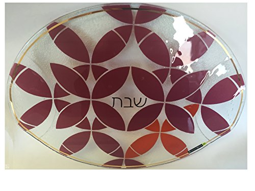 Round-Glass-Shabbat-Challah-Tray-with-Red-Kaleidoscope-Design-0-0