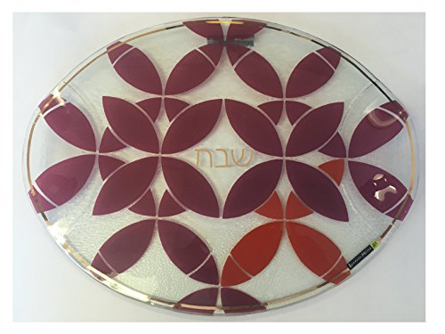 Round-Glass-Shabbat-Challah-Tray-with-Red-Kaleidoscope-Design-0