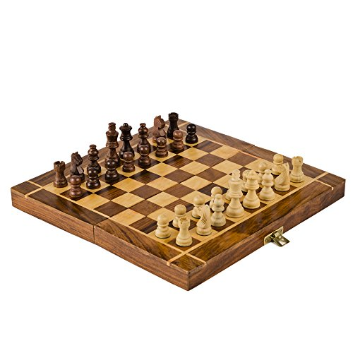 Rusticity-Wood-Magnetic-Chess-Set-with-Folding-Board-and-Chess-Pieces-Handmade-10×10-in-0