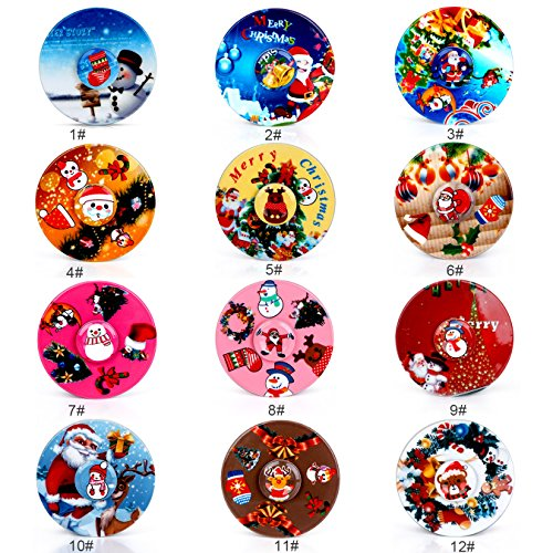 SCIONE-Christmas-Day-Fidget-Spinner-12-Pack-ADHD-Stress-Relief-Anxiety-Toy-Best-Autism-Hand-spin-for-Adults-Children-Finger-Toy-with-Bearing-0-0