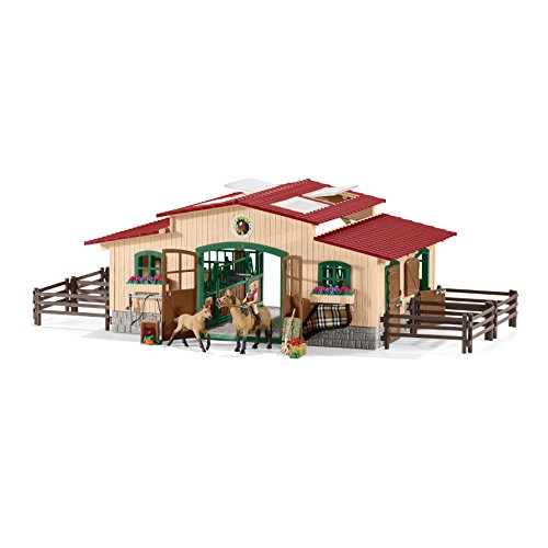 Schleich-North-America-Schleich-Stable-with-Horses-Accessories-Toy-0