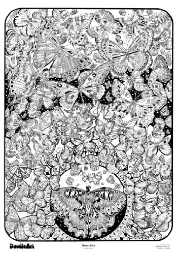 The-Original-DoodleArt-by-PlaSmart-Butterflies-Adult-Coloring-24x-34-Poster-Non-Toxic-Precision-12-Marker-Set-Reduce-Stress-Ages-8-and-Up-0-0