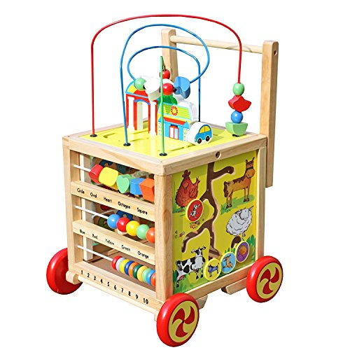 Activity Cube Toy : Timy wooden learning bead maze cube in activity center
