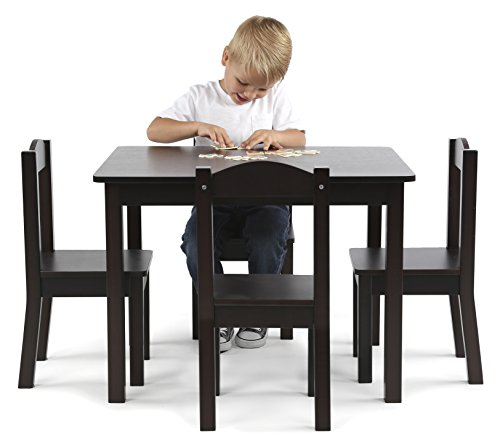 Kids Table And Chairs Set Espresso: Tot Tutors Kids Wood Table And 4 Chairs Set, Espresso