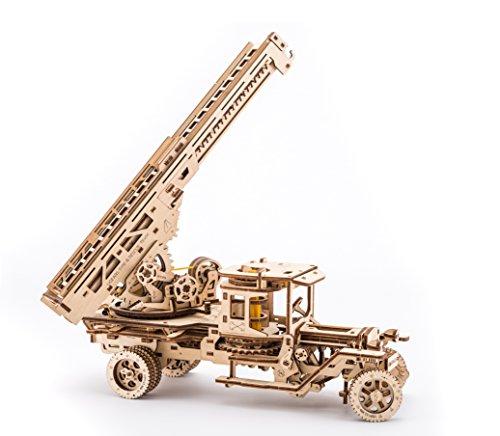 Ugears Fire Truck With Ladder Mechanical Wooden Model Kit