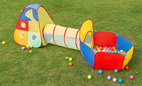 Utex 3 In 1 Pop Up Kids Play Tent With Tunnel And Ball Pit