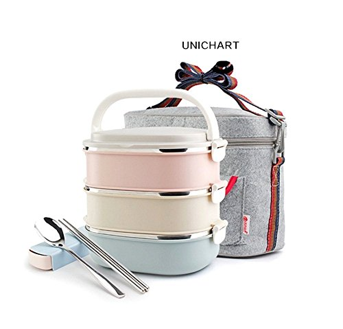 Unichart-Stainless-Steel-Square-Lunch-Box-Insulated-Lunch-Bag-Lock-Container-Bag-Spoon-and-Chopsticks-Set-Food-Storage-Boxes-for-work-and-school-3-Tier-0