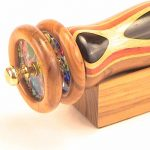 Wooden-Double-Wheeled-Kaleidoscope-Ebony-and-teak-Inlaid-10-Long-Double-Wheel-By-N-J-0-0