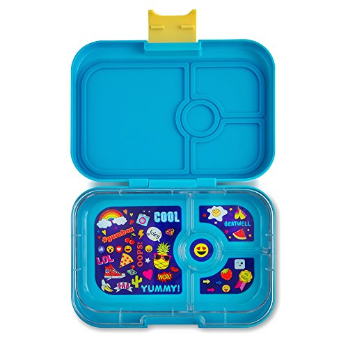 yumbox panino kai blue emoji tray leakproof bento lunch box container for kids adults. Black Bedroom Furniture Sets. Home Design Ideas