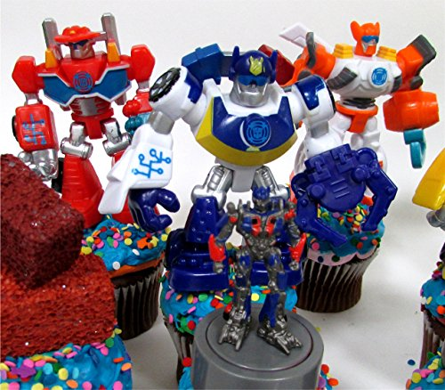 12 Piece TRANSFORMER Birthday Cupcake Topper Set Featuring