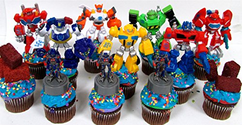 12 Piece TRANSFORMER Birthday Cupcake Topper Set Featuring
