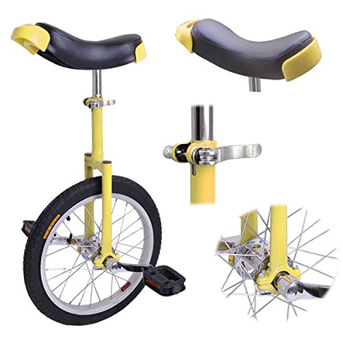 16-Inches-Wheel-Skid-Proof-Tread-Pattern-Unicycle-W-Stand-Uni-Cycle-Bike-Cycling-YELLOW-0-0