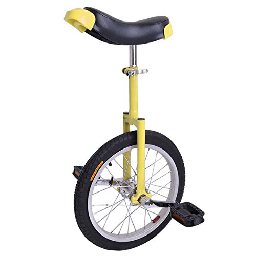 16-Inches-Wheel-Skid-Proof-Tread-Pattern-Unicycle-W-Stand-Uni-Cycle-Bike-Cycling-YELLOW-0