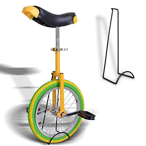 18-Inches-Wheel-Skid-Proof-Tread-Pattern-Unicycle-W-Stand-Uni-Cycle-Bike-Cycling-GREEN-YELLOW-0-0