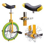 18-Inches-Wheel-Skid-Proof-Tread-Pattern-Unicycle-W-Stand-Uni-Cycle-Bike-Cycling-GREEN-YELLOW-0-1