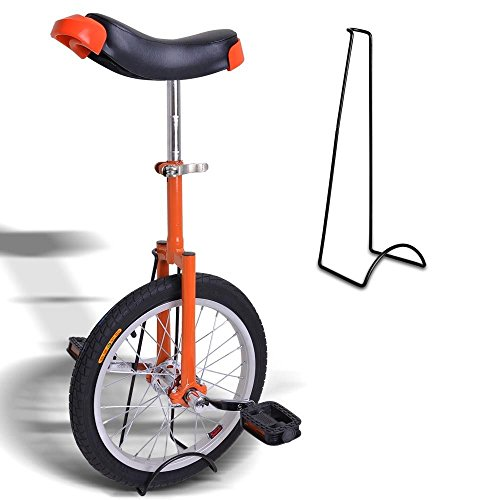 18-Inches-Wheel-Skid-Proof-Tread-Pattern-Unicycle-W-Stand-Uni-Cycle-Bike-Cycling-ORANGE-0-0