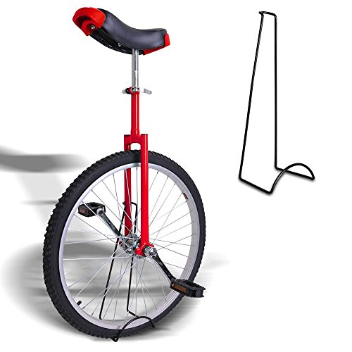 20-Inches-Wheel-Skid-Proof-Tread-Pattern-Unicycle-W-Stand-Uni-Cycle-Bike-Cycling-RED-0-1